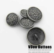 5PCS Quality Metal Floral Carving Shank Buttons Craft DIY Coat Sewing 15 22 MM