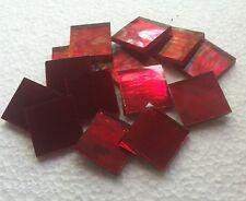 25 tiles - 3/4 inch RED Mirror Hand Cut Glass Mosaic tiles - Spectrum Silvercoat