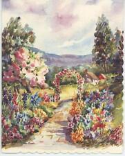 1 Vintage Flowers Garden Gate Arbor House Print 1 Persian Orange Tabby Cat Card
