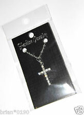 Fashion Jewelry Crystal Set Necklace Cross Necklace; Brand New Silver