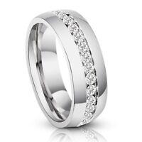 Men's Genuine Titanium Eternity Diamond Anniversary Wedding Band Ring 1.3 Ct VS1
