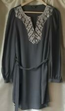 warehouse size 12 100% silk dress tunic long top in grey with embroidery detail