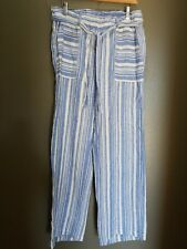 C&C California White & Blue Striped 100% Linen Pant Pockets L Belted