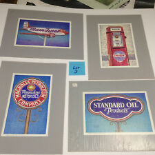 4 New old stock  art prints Warren Anderson Gas Oil Diner sign americana lot 3