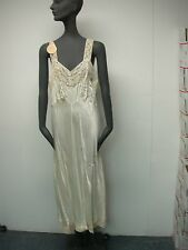 VTG 1940s HEAVENLY LINGERIE BY FISCHER IVORY SATINY w LACE LADIES NIGHTGOWN NOS