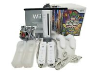 Nintendo Wii Game Console Bundle 2 Controllers, 2 Nunchuks, Cables, 6 Games NICE