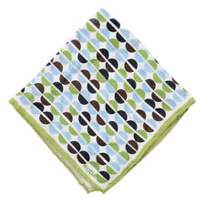 NWT RODA Lime Green and Sky Blue Geometric Mod Print Linen Pocket Square