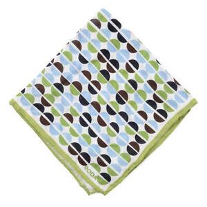 NWT RODA Lime Green and Sky Blue Geometric Mod Print Linen Pocket Square