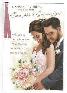Daughter And Son In Law Anniversary Card With Sentiment Verse