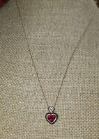 Kay Jewelers 10k Yellow gold red garnet heart diamond pendant Necklace Love