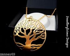 Extra Large 6cm Antique Gold Tree of Life Long Statement Necklace 80cm