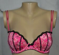 APT. 9 Pink Floral Lace Trim Balconette Push Up Underwire Bra 34B AF301300P