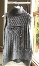 Gorgeous DEREK LAM 10 CROSBY Fuzzy Grey Roll Neck Knit Top Sweater Size S