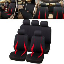 9PCS Black/Red Car Seat Covers Protectors Universal washable Full Set Front Rear