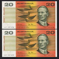 Australia R-408. (1983) 20 Dollars - Johnston/Stone..  UNC - CONSECUTIVE Pair..