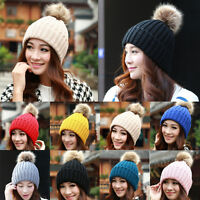 Hot Womens Winter Warm Braided Crochet Knit Beanie Beret Ski Ball Cap Baggy Hat