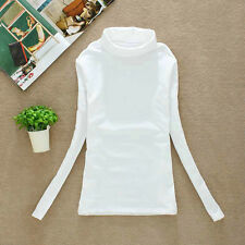 Fashion Womens Slim Turtleneck Tops Long Sleeve T-Shirt Pullover Stretch Blouse