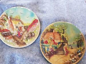 2 X Chalk Wall Plates , Vintage Decoration