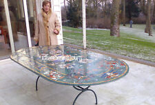 6'x4' Marble Coffee Dining Table With Stand Pietradura Inlay Garden Decor H3747
