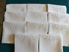 10 superbes serviettes, pur fil de lin, mono J S, ancienne