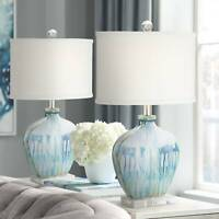 Coastal Table Lamps Set of 2 Ceramic Blue Drip for Living Room Bedroom Office