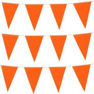 10M Orange Bunting 20 Flags Plastic Pennants Party Wedding Events Garland Decor