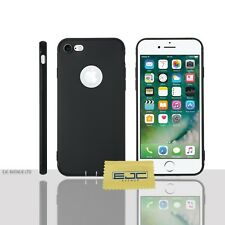 "Matte Silicone Case/Cover Apple iPhone 7 (4.7"") Screen Protector / Gel / Black"