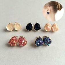 Boho Silver Gold False Druzy Ear Stud Natural Stone Quartz Earrings Size 10mm
