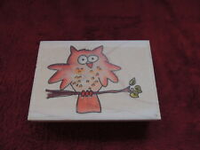 "NEW Whipper Snapper WHO'S A HOOT Owl Branch Rubber Stamp 3.5""x2.5"