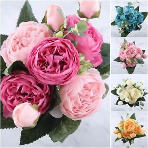 30cm Rose Pink Peony Artificial Flowers Bouquet 5 Head 4 Bud Home Decoration
