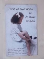 VINTAGE 1916 GREETINGS POSTCARD - WITH ALL GOOD WISHES FOR A HAPPY BIRTHDAY