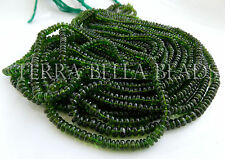 """7"""" strand rare CHROME DIOPSIDE smooth gem stone rondelle beads 3mm - 4mm green"""