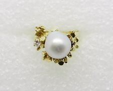 14K YELLOW GOLD VINTAGE BAROQUE PEARL DIAMOND RING SIZE 6.75  -  LB1144