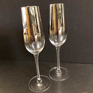 VTG Champagne Flutes Set 2 Silver Fade Ombre Mid Century Wedding Toast MCM