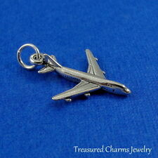 .925 Sterling Silver AIRPLANE CHARM Jet Boeing 747 Plane PENDANT