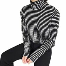 Women Casual Long Sleeves Tops Black & White Striped Blouses Turtleneck T-shirt