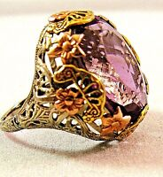 14K White Rose Yellow Gold 11.00 CT Amethyst Filigree 6.5gr Vintage Ring S7.75