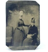 Antique Victorian Tintype Photograph Painted Blush Fancy Women Hats & Dresses