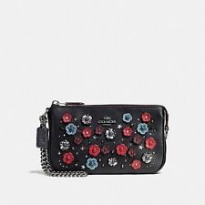 Coach 59772 Willow Floral Nolita Wristlet 19 Tea Rose Black Leather NEW