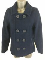 WOMENS JOHNNIE B BLUE WOOL BLEND DOUBLE BREASTED PEA COAT SIZE SMALL