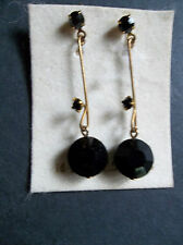 14K Gold Wire and Black Onyx Pierced Dangle Drop Wired Earrings