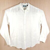 Cubavera Mens Button Front Shirt XL White 100% Linen Long Sleeve