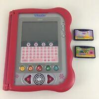 VReader Learning Handheld Tablet System with 2 Game Cartridges Lot Tested Vtech