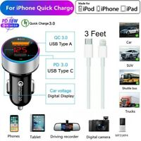 18W PD Fast Car Charger iphone USB-C to 8Pin Cable For iPhone 12 11 Pro Max XS X