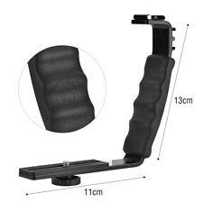 Black Camera Flash L-Bracket Dual Hot Shoe Holder Mount Adapter Microphone