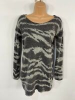 WOMENS TOPSHOP GREY ZEBRA PRINT CASUAL SOFT FLUFFY JUMPER PULLOVER TOP SIZE UK12