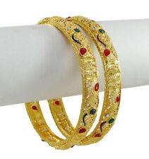 Goldtone Ethnic Traditional Indian Kada Bangles Wedding Bracelet Jewelry 2*4