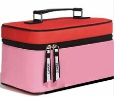 "CLINIQUE Makeup BAG/Train CASE ( around 10"" X 6"" X 5.5"") Red/Pink New!"