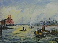 Signiert Bremert - Hamburger Hafen mit Kehrwiderspitze