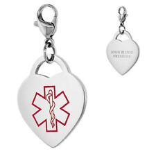 Alto Presión Arterial ACERO INOXIDABLE Medical Alert CHARM CORAZÓN CON /